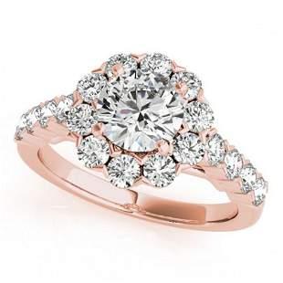 2.1 ctw Certified VS/SI Diamond Halo Ring 18k Rose Gold