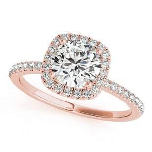 1 ctw Certified VS/SI Diamond Halo Ring 18k Rose Gold -