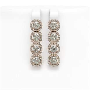 6.01 ctw Cushion Cut Diamond Micro Pave Earrings 18K