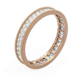 2.87 ctw Baguette Diamond Men's Ring 18K Rose Gold -