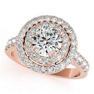 3 ctw Certified VS/SI Diamond Halo Ring 18k Rose Gold -
