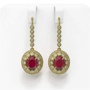 9.25 ctw Certified Ruby & Diamond Victorian Earrings
