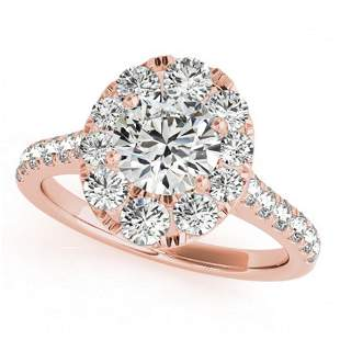 2 ctw Certified VS/SI Diamond Halo Ring 18k Rose Gold -