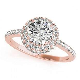 1.1 ctw Certified VS/SI Diamond Halo Ring 18k Rose Gold