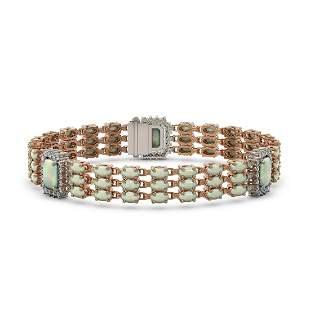 20.67 ctw Opal & Diamond Bracelet 14K Rose Gold -