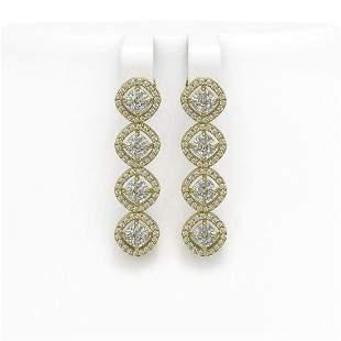 4.52 ctw Cushion Cut Diamond Micro Pave Earrings 18K