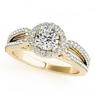 0.9 ctw Certified VS/SI Diamond Halo Ring 18k Yellow