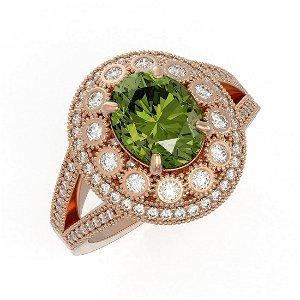 4.25 ctw Certified Tourmaline & Diamond Victorian Ring