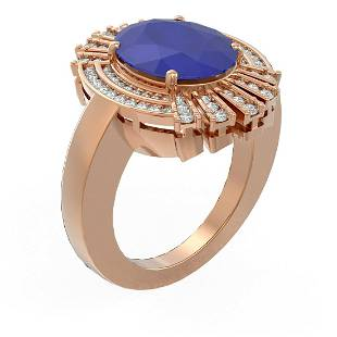 .72 ctw Sapphire & Diamond Ring 18K Rose Gold -