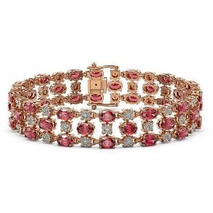 23.12 ctw Tourmaline & Diamond Bracelet 10K Rose Gold -