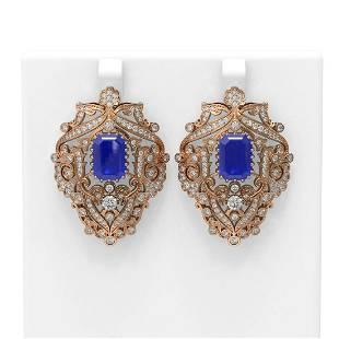 15.07 ctw Sapphire & Diamond Earrings 18K Rose Gold -