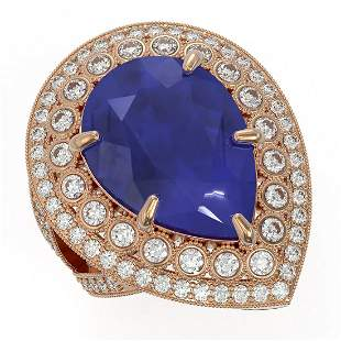 16.29 ctw Certified Sapphire & Diamond Victorian Ring