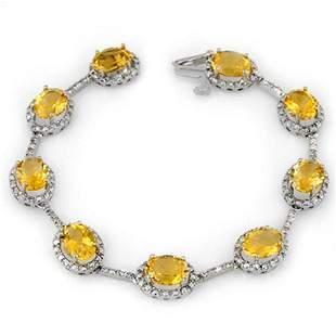16.33 ctw Citrine & Diamond Bracelet 10k White Gold -