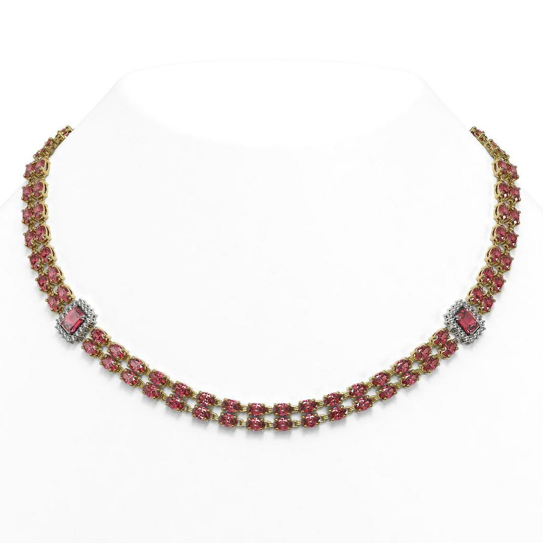 37.23 ctw Tourmaline & Diamond Necklace 14K Yellow Gold