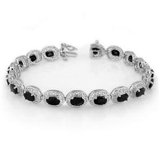 12.0 ctw Blue Sapphire Bracelet 18k White Gold -