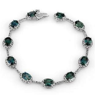 15.40 ctw Blue Sapphire & Diamond Bracelet 10k White