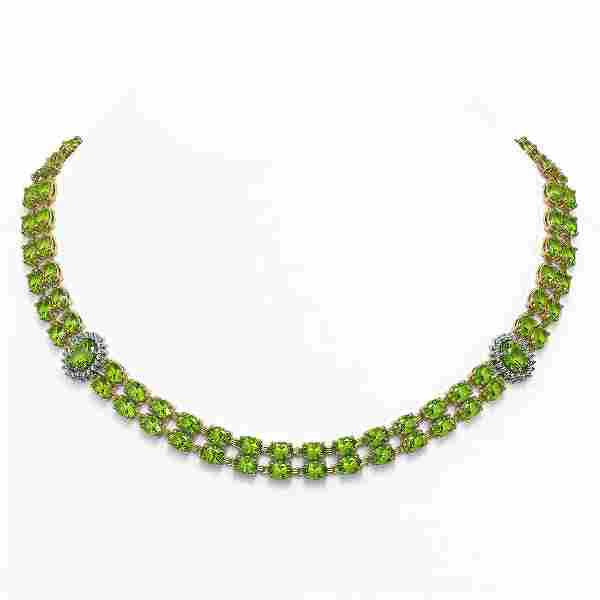 58.69 ctw Peridot & Diamond Necklace 14K Yellow Gold -