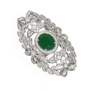 8.82 ctw Emerald & Diamond Ring 18K White Gold -