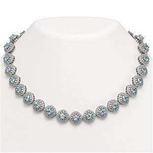 72.27 ctw Aquamarine & Diamond Victorian Necklace 14K