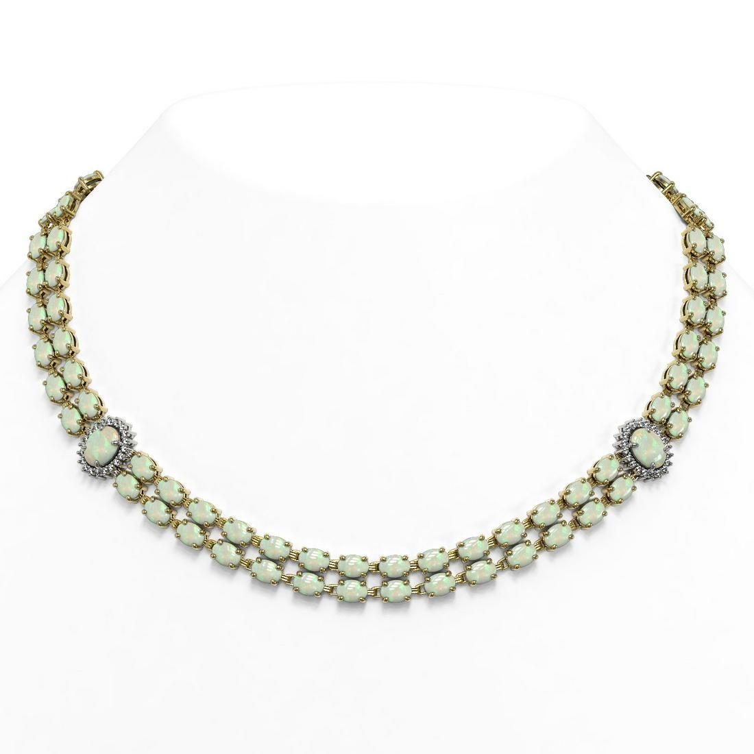 39.37 ctw Opal & Diamond Necklace 14K Yellow Gold -