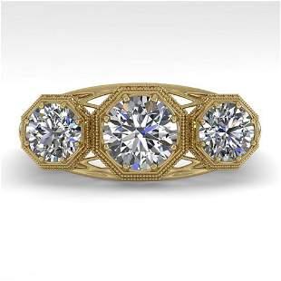 2 ctw Past Present Future VS/SI Diamond Ring Art Deco
