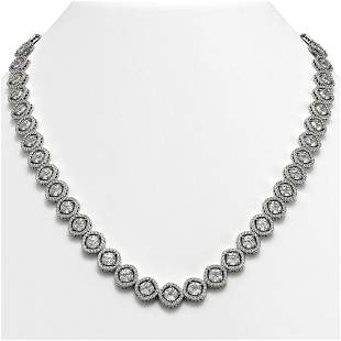 36.09 ctw Cushion Cut Diamond Micro Pave Necklace 18K