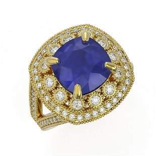 6.47 ctw Certified Sapphire & Diamond Victorian Ring