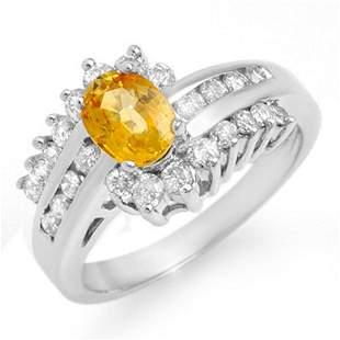 1.77 ctw Yellow Sapphire & Diamond Ring 18k White Gold