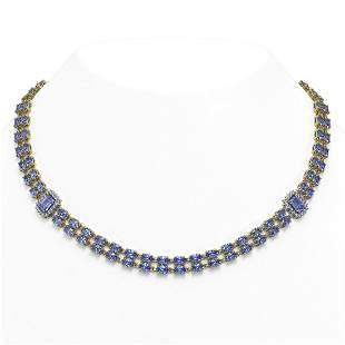 35.32 ctw Tanzanite & Diamond Necklace 14K Yellow Gold