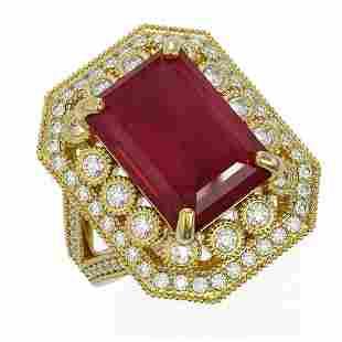 11.98 ctw Certified Ruby & Diamond Victorian Ring 14K