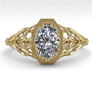 1.0 ctw VS/SI Oval Diamond Engagment Ring Art Deco 18k
