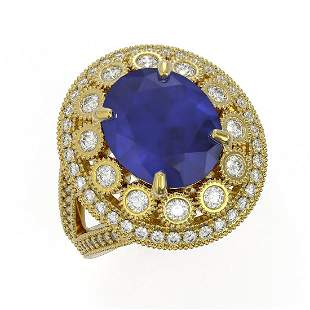 8.76 ctw Certified Sapphire & Diamond Victorian Ring