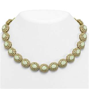 91.75 ctw Certified Opal & Diamond Victorian Necklace