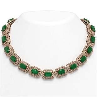137.65 ctw Emerald & Diamond Victorian Necklace 14K