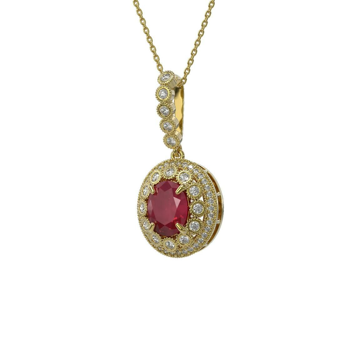 4.67 ctw Certified Ruby & Diamond Victorian Necklace