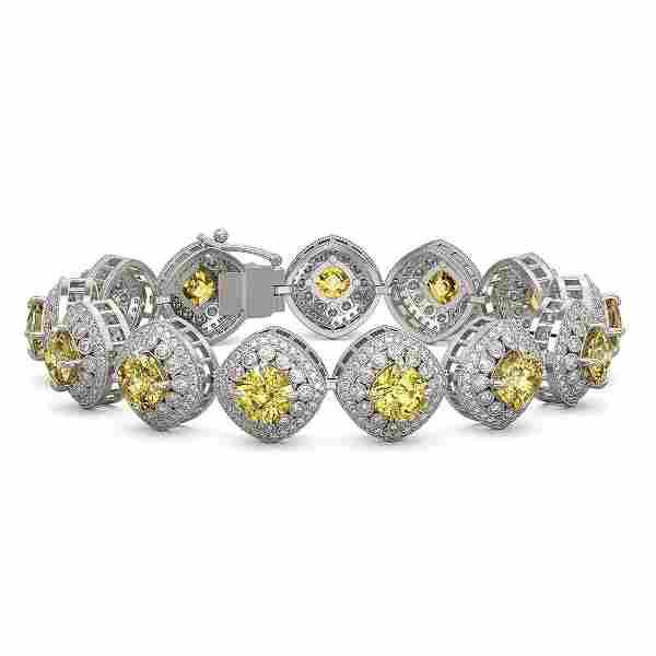 28.35 ctw Canary Citrine & Diamond Victorian Bracelet