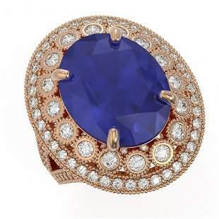 13.85 ctw Certified Sapphire & Diamond Victorian Ring