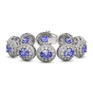 50.27 ctw Tanzanite & Diamond Victorian Bracelet 14K