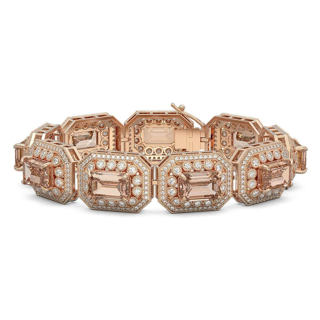 52.65 ctw Morganite & Diamond Victorian Bracelet 14K