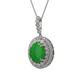9.17 ctw Jade & Diamond Victorian Necklace 14K White