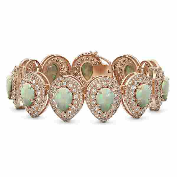 46.44 ctw Certified Opal & Diamond Victorian Bracelet