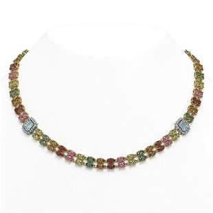 42.06 ctw Sapphire & Diamond Necklace 14K Yellow Gold -