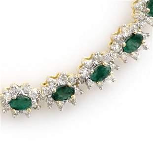 22.0 ctw Emerald & Diamond Necklace 14k Yellow Gold -