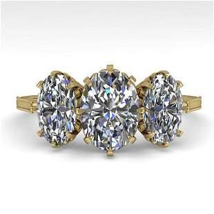 2 ctw Past Present Future VS/SI Oval Cut Diamond Ring