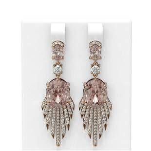 9.46 ctw Morganite & Diamond Earrings 18K Rose Gold -