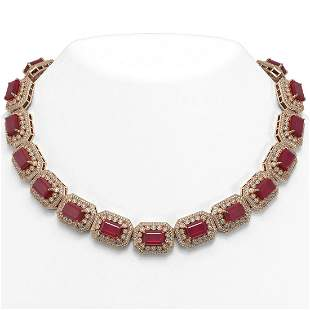 137.65 ctw Certified Ruby & Diamond Victorian Necklace