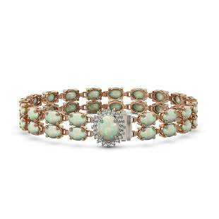 17.42 ctw Opal & Diamond Bracelet 14K Rose Gold -