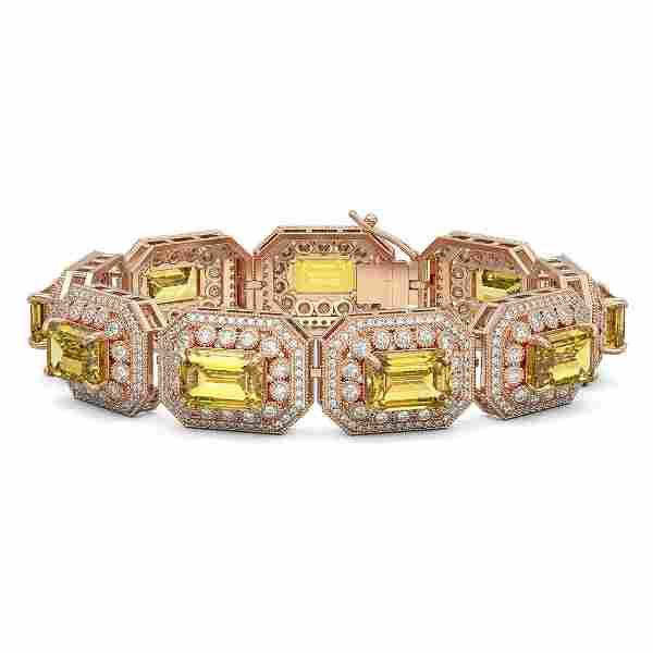 49.68 ctw Canary Citrine & Diamond Victorian Bracelet