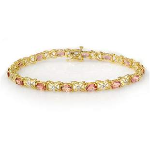6.0 ctw Pink Tourmaline & Diamond Bracelet 14k Yellow