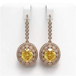 15.44 ctw Canary Citrine & Diamond Victorian Earrings